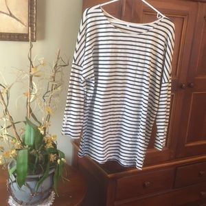 J Crew striped Black & Cream long sleeve Tee